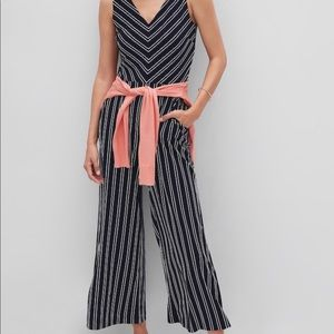 Banana Republic-Navy Blue/ White Striped Jumpsuit